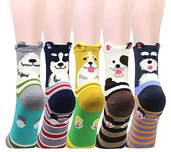 Cansok 5 Pack Women's Dog Socks Fun Novelty Dress Crew Socks (3D Dog)