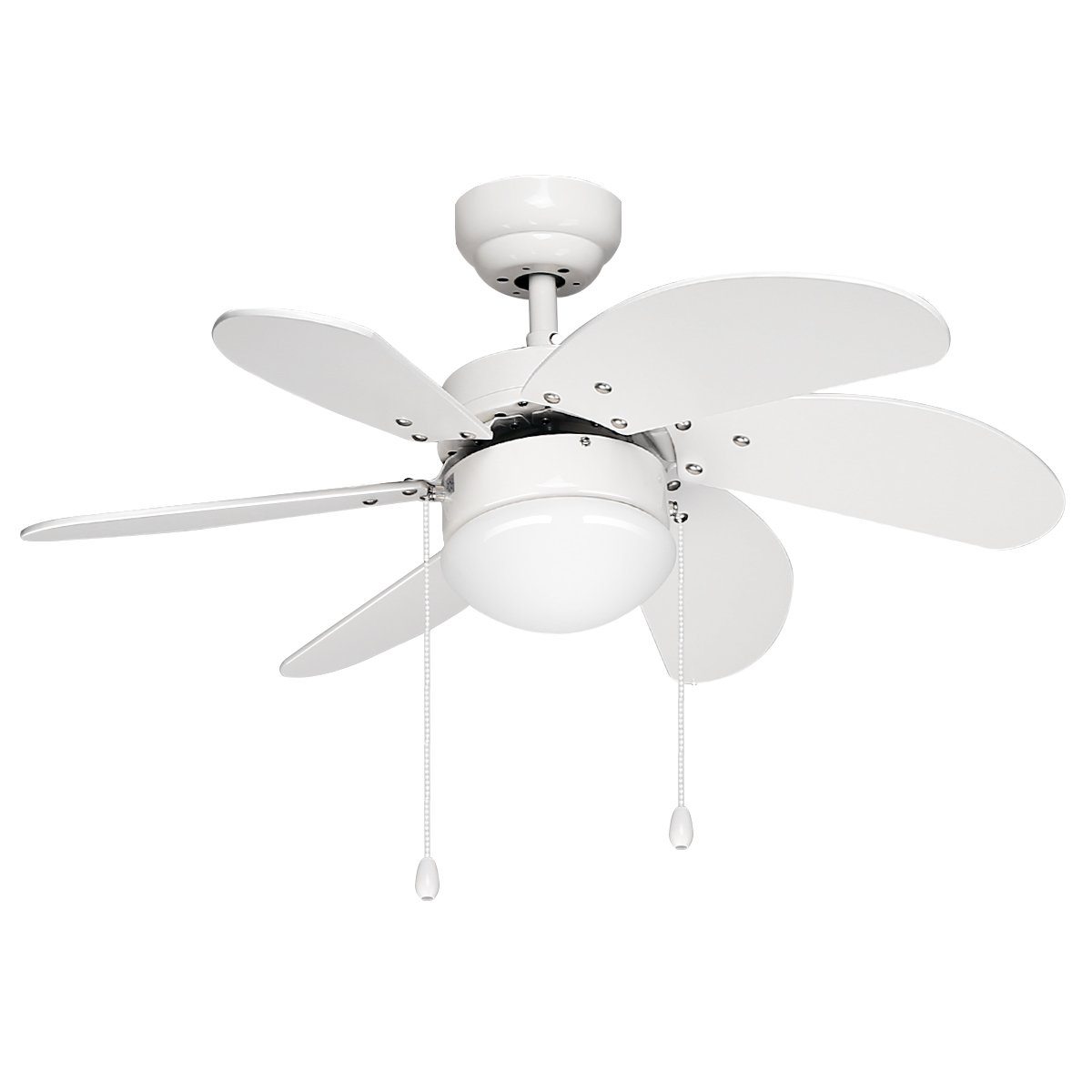 LE 30 inch Indoor Ceiling Fan 6-blades Reversible Classic Fan Light Kit For Winter Summer, UL Listed, Perfect for Home Hotel House Bedroom Dinning Hall Lobby