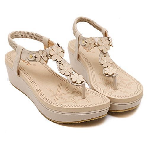 Shoes Strap Fashion Women for Elastic Bohemian CYBLING Beige Wedge Sandals 1YqZ4