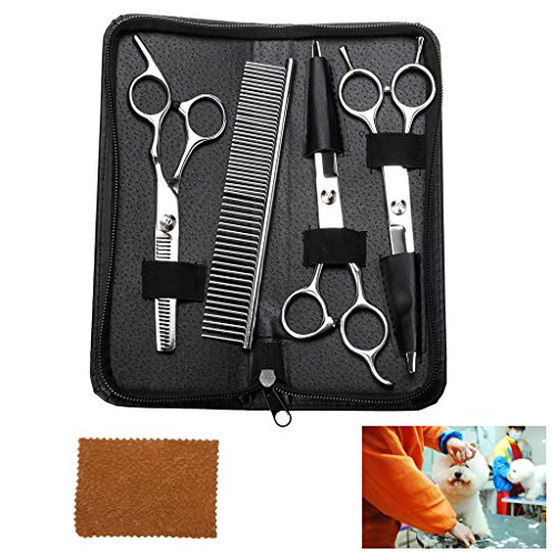 Sumnacon Professional Pet Dog Grooming Scissors Set-Stainless Steel Hair Thinning,Straight,Curved Shears Comb,Safety 7 inch 4 Pcs Trimming Kits Dogs Cats Other Pets Long/Short Hair