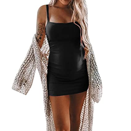 b770630e03c0f Amazon.com: Luonita Womens Maternity Dress Soft Sexy Spaghetti Strap Solid  Mini Pregnancy Dress: Sports & Outdoors