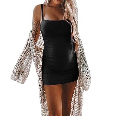 93bc83e1207 Luonita Womens Maternity Dress Soft Sexy Spaghetti Strap Solid Mini  Pregnancy Dress Black