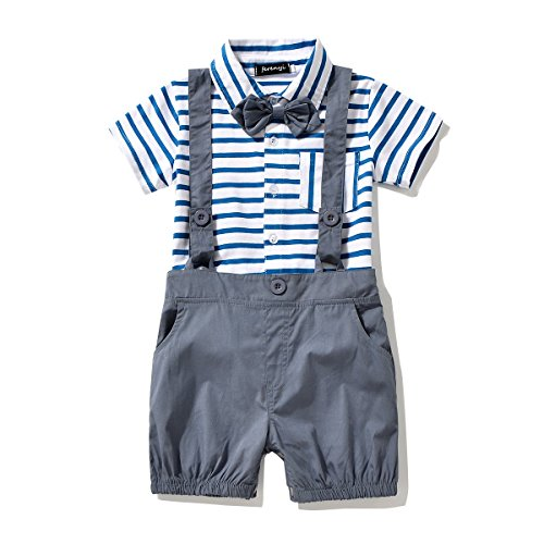 c71dd3a1b27b Amazon.com  FERENYI Baby Boy s Bowtie Gentleman Romper Jumpsuit Overalls  Stripe Rompers Sets  Clothing