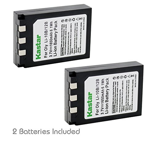 Kastar Battery (2-Pack) for Olympus LI-10B LI-12B and Olympus Stylus 300, 400, 500, 600, 800, C-50, 60, 70, 470, 760, 770, 5000 Camera