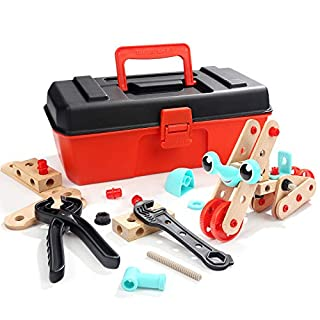 TOP BRIGHT STEM Construction Engineering Kits for Boys, Take Apart Toys Set with Tools, Building Toys for Kids Ages 4-8