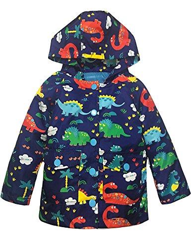 YNIQ Boys' Raincoat Lightweight Dinosaur Print Coats (Dinosaur-w, 4T)