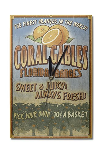 Coral Gables, Florida - Orange Grove Vintage Sign (10x15 Wood Wall Clock, Decor Ready to - Park Gables Coral