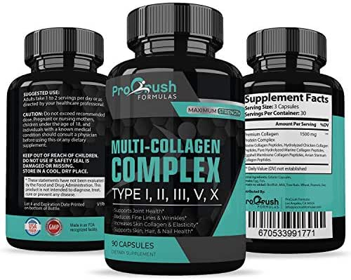 Multi-Collagen Complex- All-in One Formula Supports Cartilage, Joint & Bone Health. Powerful Anti-Aging Supplement Improves Skin, Hair, Nails, Fine Lines & Wrinkles to Look & Feel Younger.