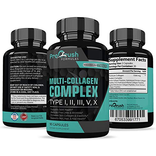 Multi-Collagen Complex- All-in One Formula Supports Cartilage, Joint & Bone Health. Powerful Anti-Aging Supplement Improves Skin, Hair, Nails, Fine Lines & Wrinkles to Look & Feel ()