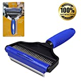 He&Ha pet 2 in 1 Deshedding Tool - Dog Brush for Shedding and Undercoat Rake for Dogs with Long or Short Hair Professional Pets Groomer Perfect for Dogs Cats Horses Blue Clearance