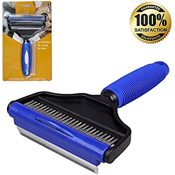 Deshedding Tool for Dogs He&Ha Pet Dog Shedding Brush and Undercoat Rake for Long or Short Hair 2 in 1 Perfect for Cats Horses (Blue Large)