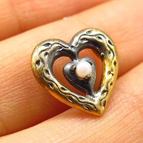 - VTG 1985 Franklin Mint 925 Sterling Gold Washed Pearl Imitation Heart Pendant Jewelry Making Supply by Wholesale Charms