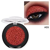 Single Baked Eyeshadow 12 Color Classy Intensity Shimmer Pearl Eye Shadow Highlighter Pigment Diamond Glitter Makeup Powder (09#)