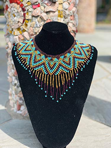 (Amor Mio Beaded Collar Necklace Beautiful Pretty Elegant Beaded (Turquoise, Brown and Gold with Fringe - Brown Outline))