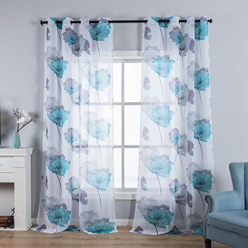 Lotus Leaves Design Print Short Sheer Window Drapes with Colorful Floral Curtain for Girls Room, 2 Panels 63 Inch Length Grommet Top Voile Panels for Baby Room, Green (Curtains Bedroom Colorful)