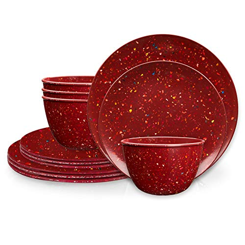 Zak Designs Confetti Melamine Dinnerware Set Includes Dinner Plates, Salad Plates, and Individual Bowls, Durable and Eco-Friendly (Brick, 12-Piece Dinnerware Set Service for 4, BPA Free)