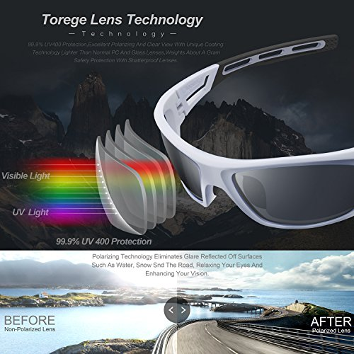 TOREGE Polarized Sports Sunglasses for Men Women Cycling Running Driving Fishing Golf Baseball Glasses EMS-TR90 Frame