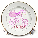 3dRose RinaPiro - Kids - Twins. Girls. Announcement. Cute picture. - 8 inch Porcelain Plate (cp_261341_1)