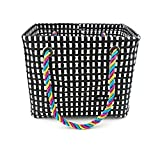 Chris-Wang Square Mesh Shower Caddy Basket/Dorm Tote/Collection Bin Box with Handle for for Shampoo, Cosmetics, Beauty Products, Towels - Folding & Portable - Resin Weave (Black & White)
