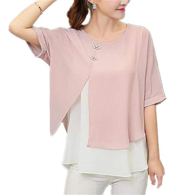 Blusas Mujer Elegantes Medias Mangas Cuello Redondo Splice Shirt Chiffon Camisas Señoras Verano Bastante Informales Anchos Elegantes Moda Joven Tops Camisa: ...