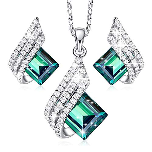 CDE Green Elf S925 Sterling Silver Jewelry Set Embellished with Crystals from Swarovski Pendant with CZ Diamonds Necklace and Earrings Set, Gift for Women