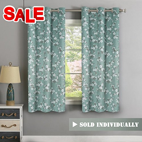 Traditional Window Drapes Aqua Floral Country Style Pattern Thermal Insulated Blackout Curtain for Living Room Nickel Grommet Window Treatment Panel, W40 x L63 inch, Sold Individually