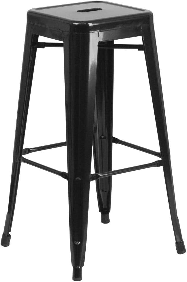 Amazon Com Flash Furniture Commercial Grade 30 High Backless Black Metal Indoor Outdoor Barstool With Square Seat Furniture Decor
