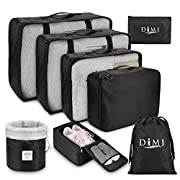 DIMJ 8 PCS Packing Cubes for Suitcase, Travel Luggage Organiser Set Travel Essentials Bag Clothes Shoes Cosmetics Toiletries Cable Storage Bags (Black)