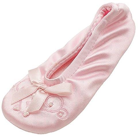 Isotoner Satin Pearl Ballerina Girl's Slippers Pink Small 11-12