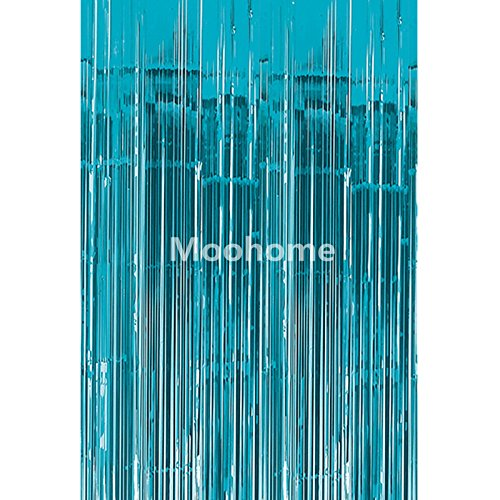 Moohome Big 3ft x 8ft Aquamarine Tinsel Metallic Foil Fringe Curtains Backdrop Door Window Curtain Party Decoration (2-Pack, (Foil Fringe Curtain)