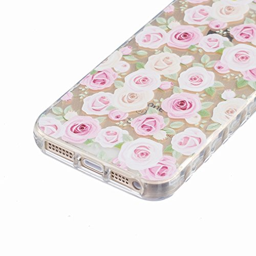Ougger Apple iPhone 5s / iphone SE Custodia Case, Antigraffio Trasparente Cristallo Durevole Slim Morbido TPU Gomma Silicone Flessibile Protettivo Skin Shell Bumper Rear (Modello 10)
