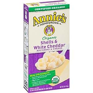 Annie's Organic Macaroni and Cheese, Shells & White Cheddar Mac and Cheese, 6 oz Box (Pack of 12)
