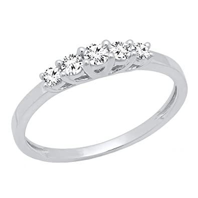297a0a98a0e Amazon.com  Dazzlingrock Collection 0.25 Carat (ctw) 10K Gold 5 Stone Round  Diamond Ladies Wedding Ring Band 1 4 CT  Jewelry