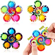 Effacera Fidget Spinner Pop Toys 4 Pack, Tie-Dye Popper Pop Bubble Spinner Set, Party Favor Sensory Fidget Bul