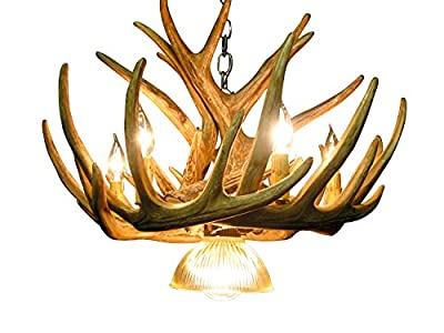 Rustic Whitetail Deer 9 Antler Cascade Chandeler with 6- 2 Watt Soft White LED Candelabra Bulbs Included (Retail $8.99 Each) and 1 Downlight