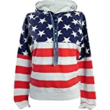 Licensed-Mart Originals Women's Proud American Flag Sweatshirt Pull Over 4008 Red/White/Blue L