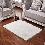 Lambskin Sheepskin Rug, sheepskin faux, fur deco rug, long hair imitation wool bed rug, sofa mat, 50 cm x 150 cm