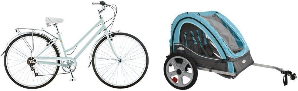 Schwinn Women's Wayfare Hybrid Bike S4023D - Mint w/ Pacific Cycle InStep Take 2 Double Bicycle Trailer Light Blue/Gray