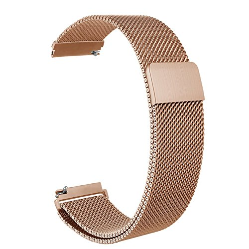Vivoactive 3 Band,ViCRiOR Quick Release Milanese Loop Mesh Stainless Steel Metal Strap with Magnetic Closure Clasp for Garmin Vivoactive 3,Forerunner 645 Music, Rose Gold
