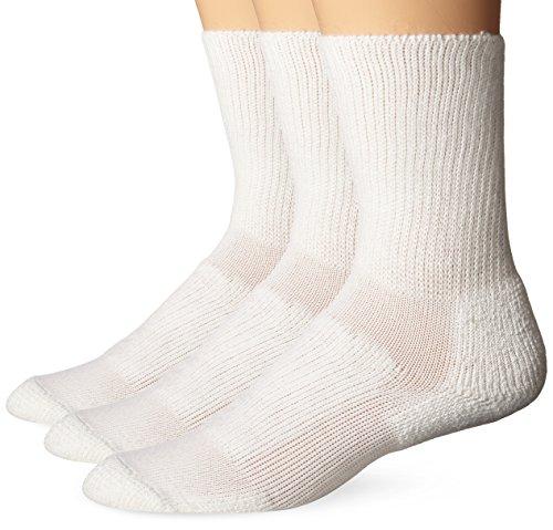 (Thorlos Unisex WX Walking Thick Padded Crew Sock, White (3 Pack), Large)