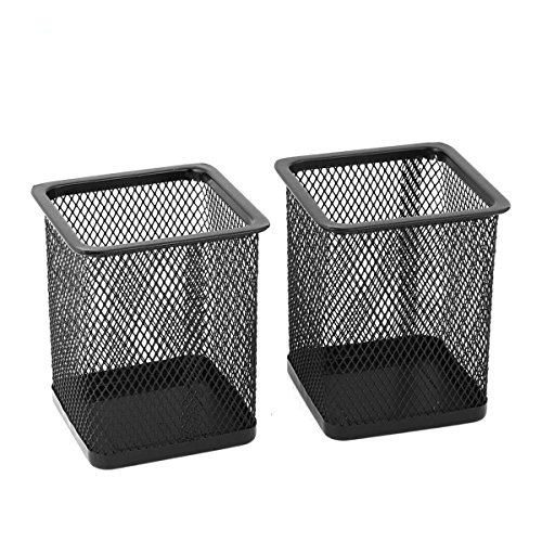 Square Metal Pen - Saim Metal Square Mesh Design Home Office Pen Holder Case,2 Pcs,Black