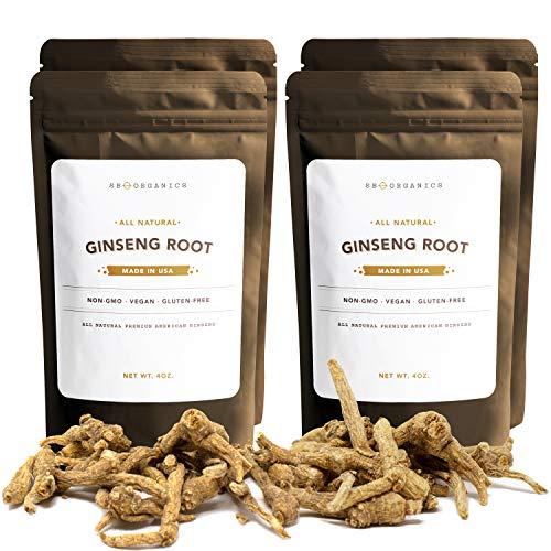 SB Organics Ginseng – Wisconsin Farmed Ginseng Root – Vegan, Non-GMO, Gluten Free Herb – 16 oz.