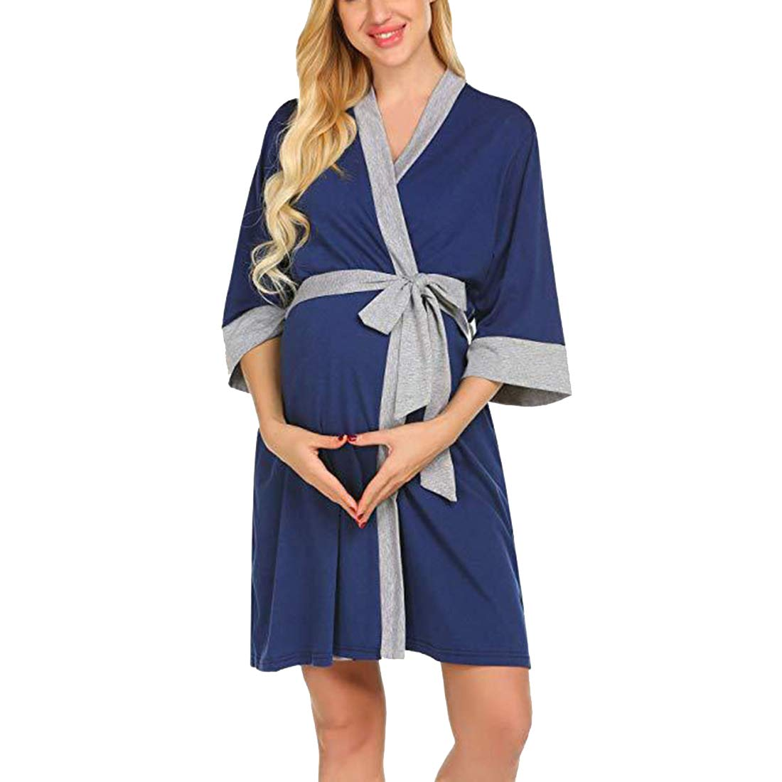 Gagacity Maternity and Nursing Nightwear Hospital Nightdress Breastfeeding Nightie V-Neck