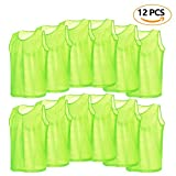 12 Pack Mesh Scrimmage Training Vests Football Vest Breathable Adults Jerseys Bibs for Volleyball Soccer Basketball ( Color : Green )