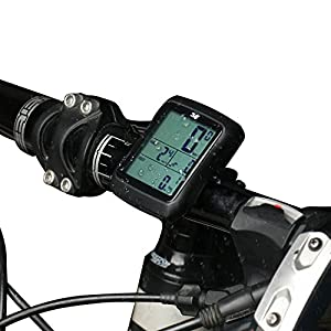 Sospers Bike Computer with Cadence Records, Wireless Speedometer Large LCD Screen Display Waterproof, Sport Bicycle Odometer (Black-advanced)