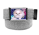 Space Puppy Girl's Flip Top Belt Buckle with Canvas Web Belt Large Glitter Silver