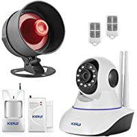KERUI Wireless Live Loud Siren Indoor/Outdoor Waterproof Horn up to 110dB+WIFI Network IP Camera 720P Video Monitoring Security Home Alarm System Kit