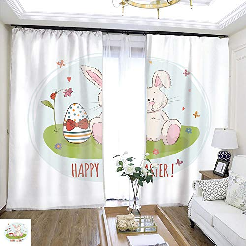 (Curtain lace Easter Bunny and Egg in Grass Vector Greeting car W108 x L83 Eliminate The Turf Highprecision Curtains for bedrooms Living Rooms Kitchens etc.)