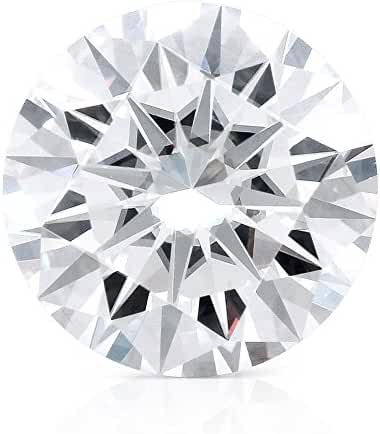 TransGems DF Colorless Simulated Diamond Moissanite Loose Stone, Round Brilliant Excellent Cut VS1 Clarity