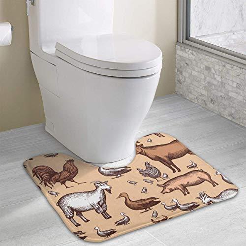 Bennett11 Farm U-Shaped Toilet Floor Rug Non-Slip Toilet Carpets Shower Mat Nonslip Toilet Floor Mat 19.2″x15.7″
